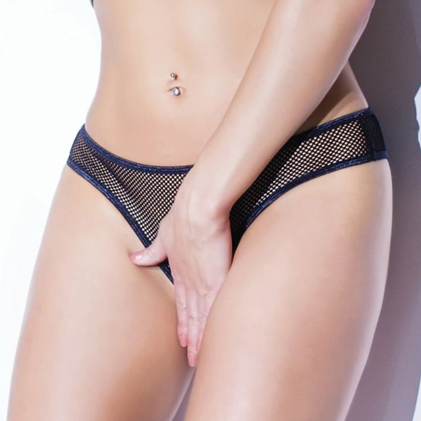 Crotchless Fishnet Panty - Black*