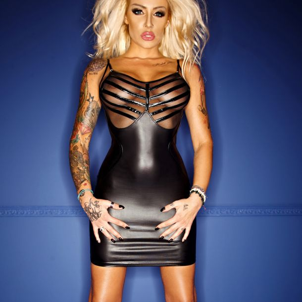 Wetlook Mini Dress with tulle*