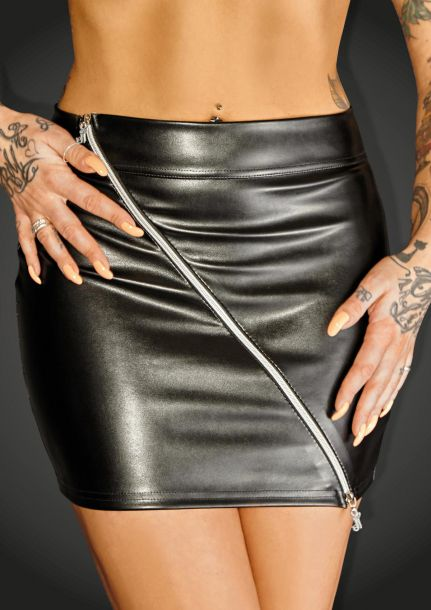 Stretch Faux Leather Mini Skirt RULER*