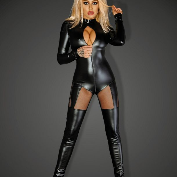 Power Wet Look Catsuit QUEEN - Black*