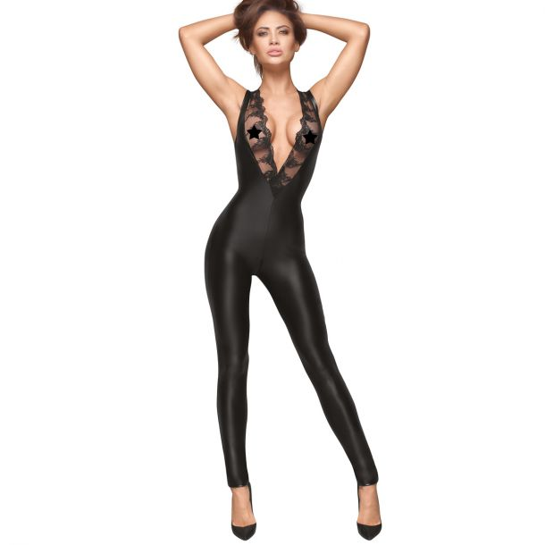 Sleeveless Power Wet Look Catsuit F167