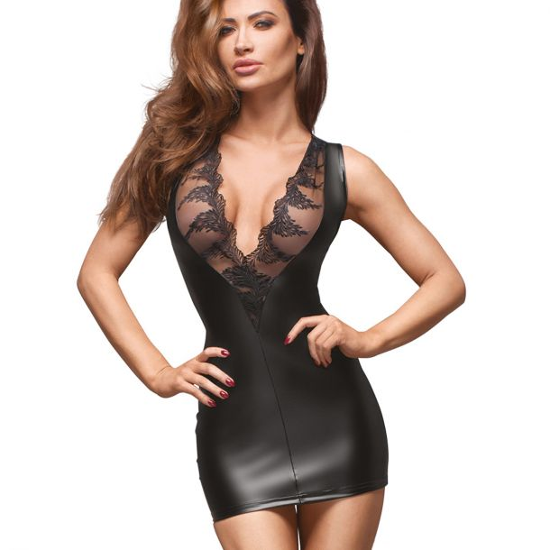 Sleeveless Power Wet Look Minidress F168