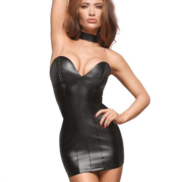 Off-The-Shoulder Power Wet Look Minidress F172