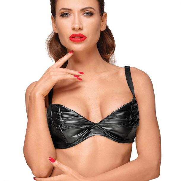 Power Wet Look Bra F174 with Decorative Pleats