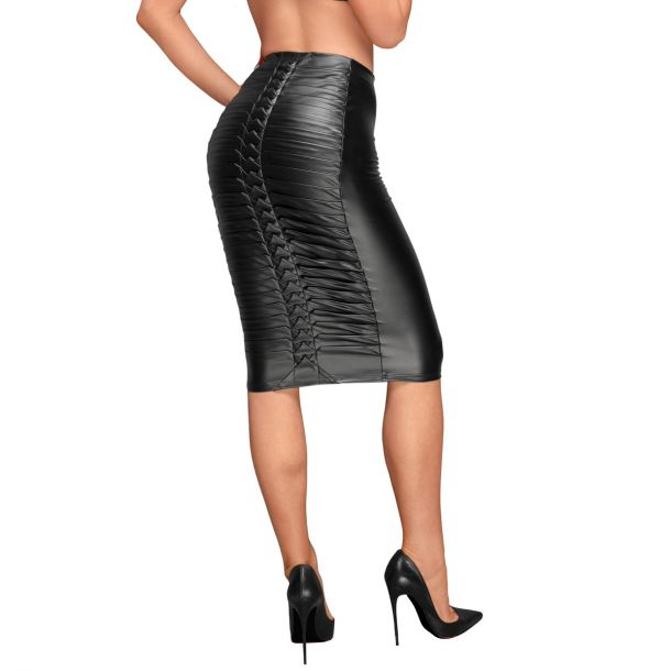 Power Wet Look Skirt F177 with Decorative Pleats