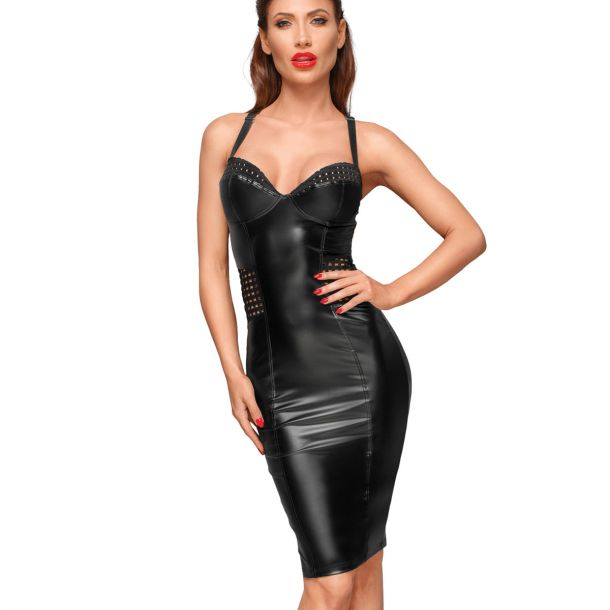 Power Wet Look Dress F180 with Lattice Inserts