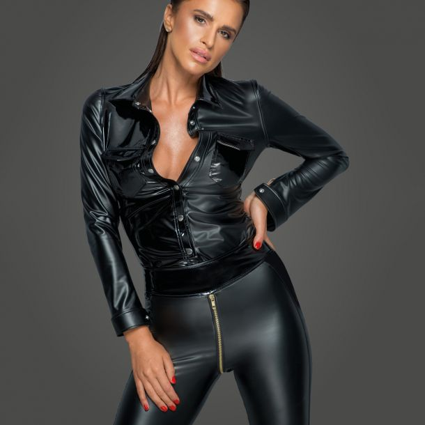 Power Wet Look Top Blouse F227 - Black