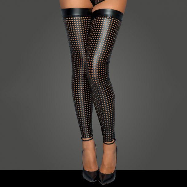 Laser Cut Wet Look Stockings F236 - Black*