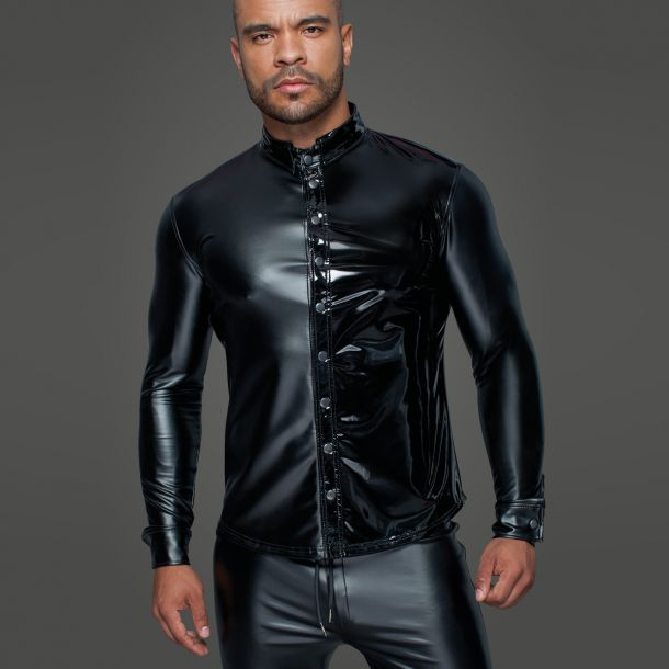 Power Wet Look Male Shirt H064 - Black