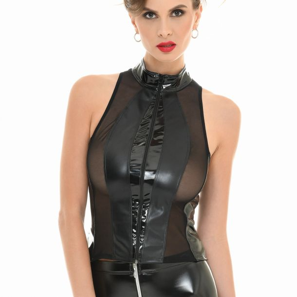 Wet Look Mesh Top AUDREY - Black*