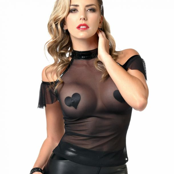 Transparent Mesh Top - Black