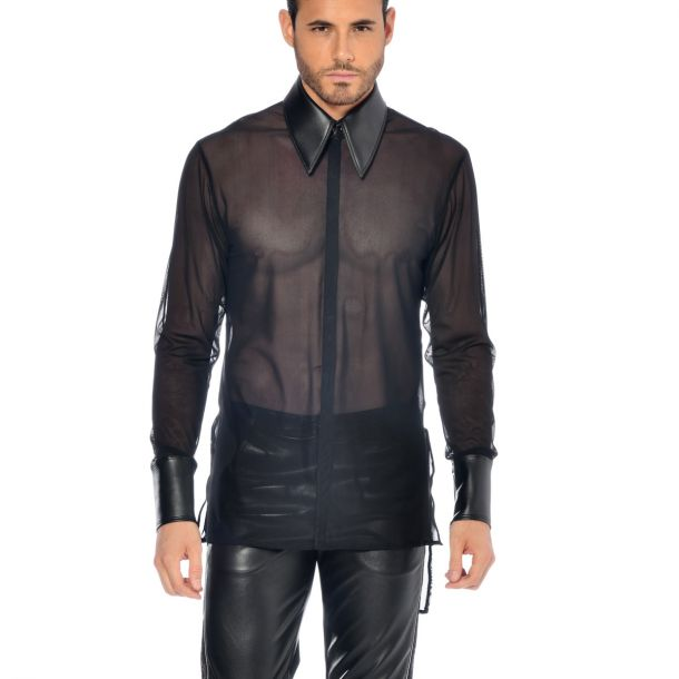 Long Sleeve Mesh Shirt JAYDEN - Black