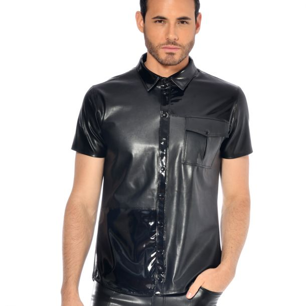 Short-Sleeved Wet Look Shirt - Black