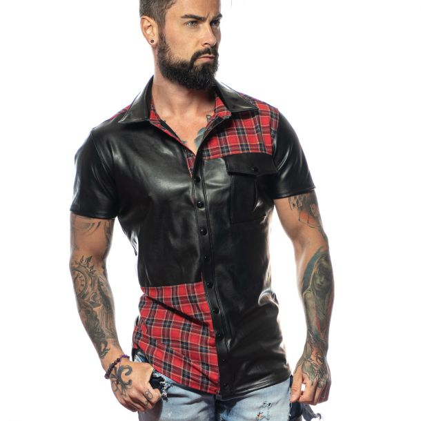 Faux Leather Shirt ETHAN - Black / Red