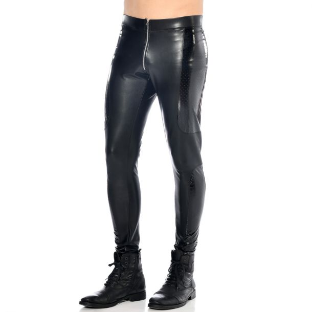 Slim Fit Lederimitat Hose - Schwarz