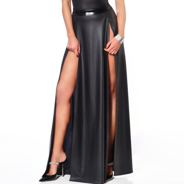 Long Wet look Skirt KLAUDIA - Black