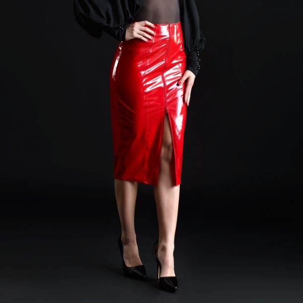 Knee-length Vinyl Skirt - Red