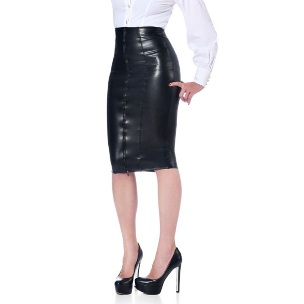 Knee-length Faux Leather Skirt - Black