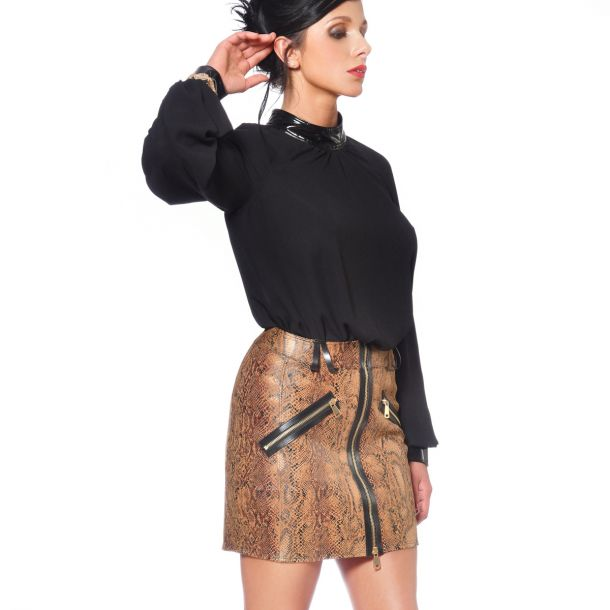 Wet look Mini Skirt ANN - Snakeprint/Brown