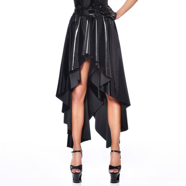 Long Vinyl Skirt O- Black