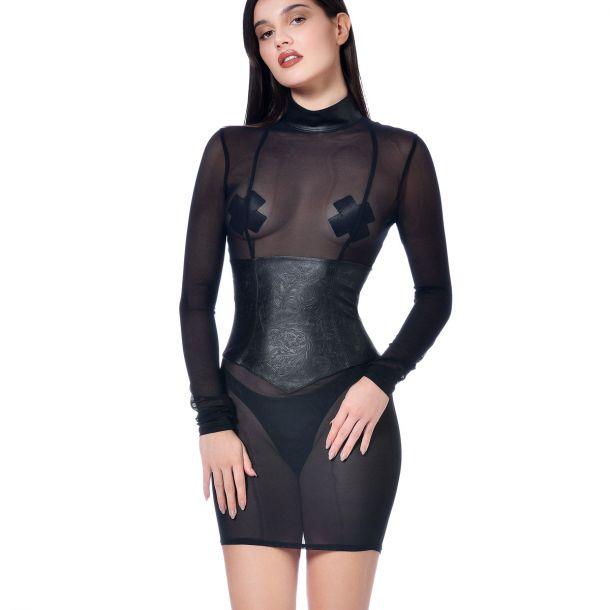 Longsleeve Mesh Minidress DEBBIE - Black