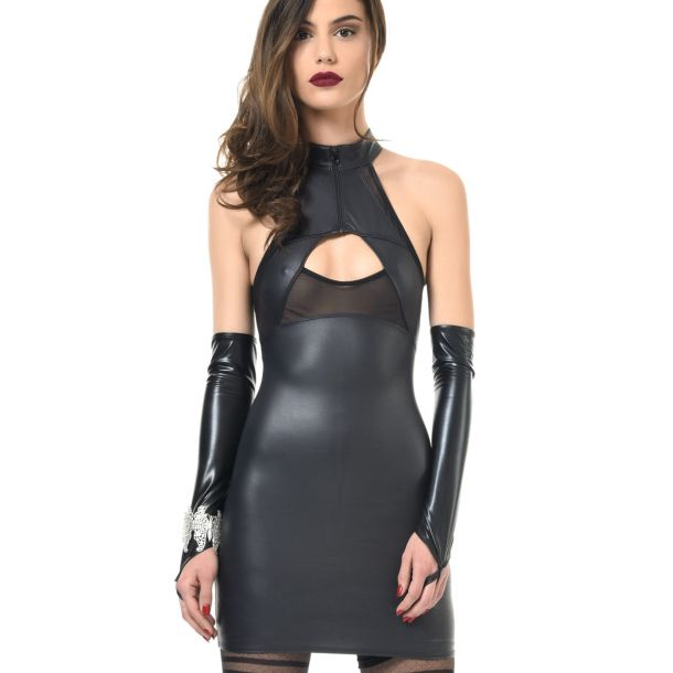 Ärmelloses Wetlook Kleid VITA
