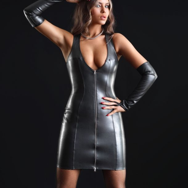Wet Look Mini Dress TAYLOR - Black