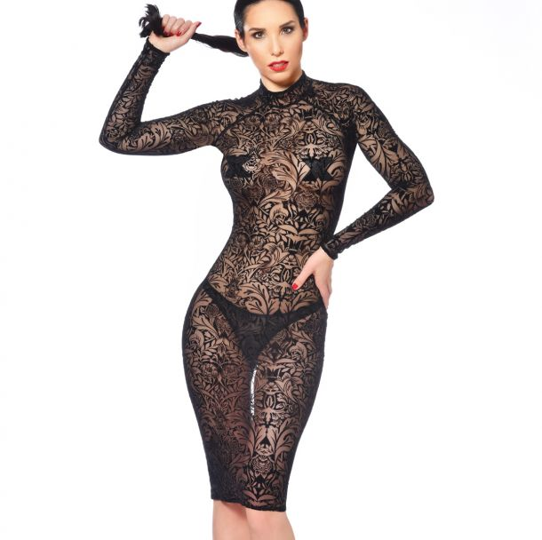 Knee-Length Mesh Dress AZIA - Tattoo Black