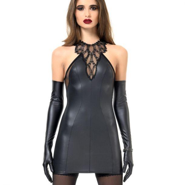 Ärmelloses Wetlook Kleid PRISCILLA