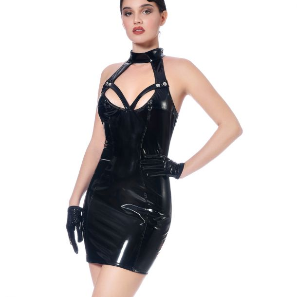 Vinyl Halterneck Dress MARIA - Black