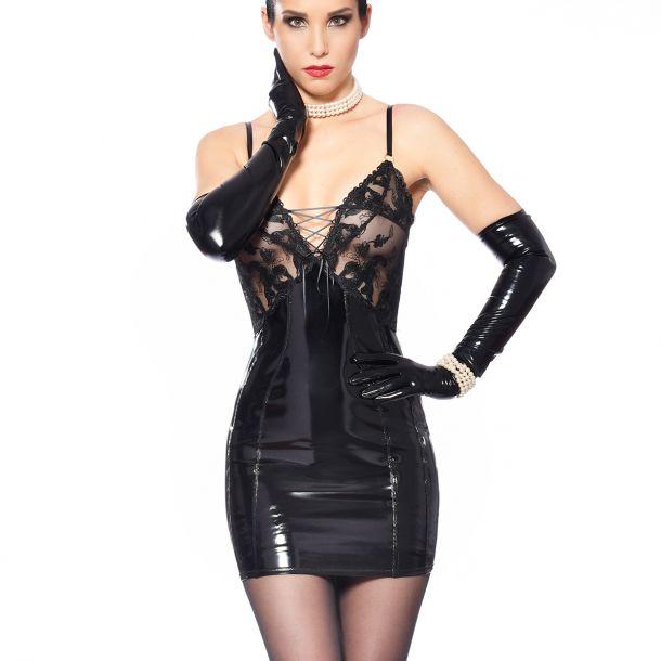 Vinyl Strap Dress with Mesh Top - Black