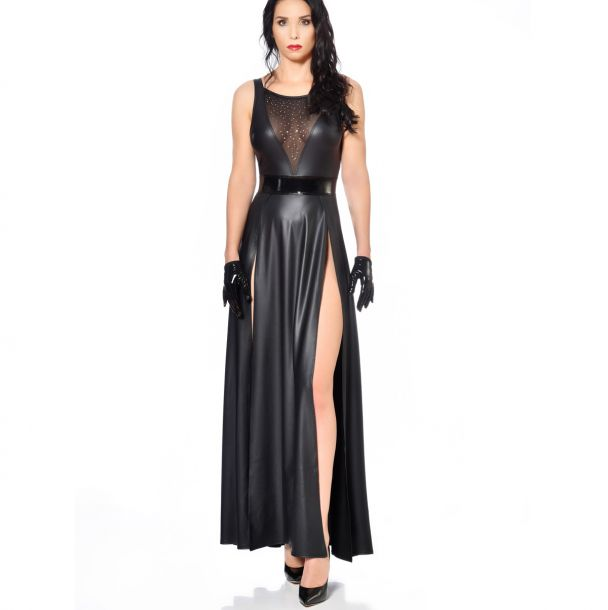 Long Wet look Dress KLAUDIA - Black*