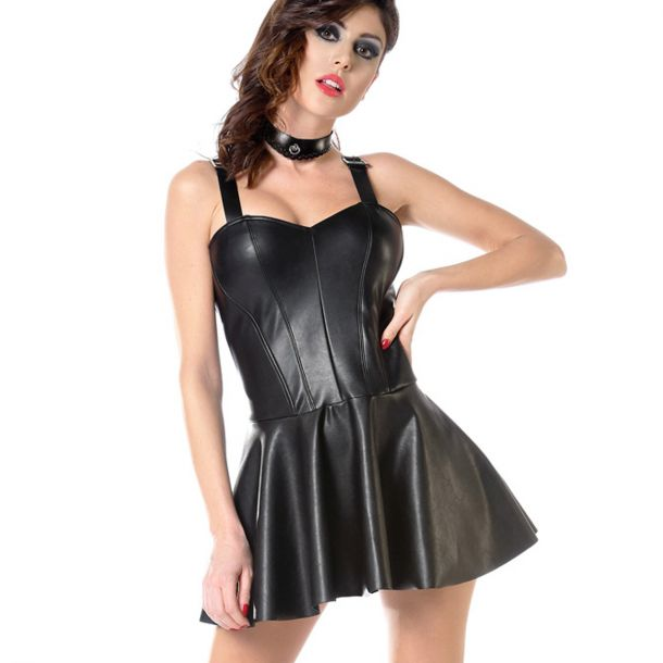 Wet Look Strap Dress - Black*