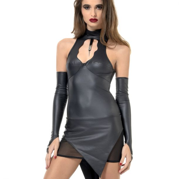 Backless Neckholder Wetlook Dress BIBI*