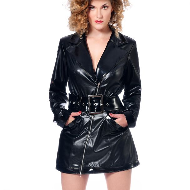 Short Wet Look Longsleeve Dress ANGELA - Black