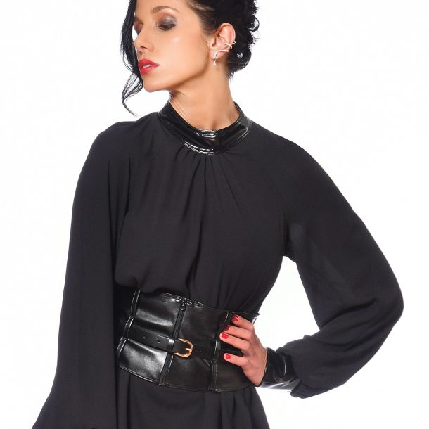 Wet Look Belt AGATHA - Black