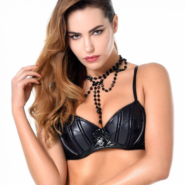 Wet Look / Vinyl Bra RUBY - Black*