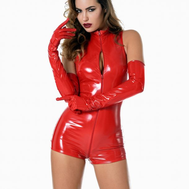 Vinyl Bodysuit - Red