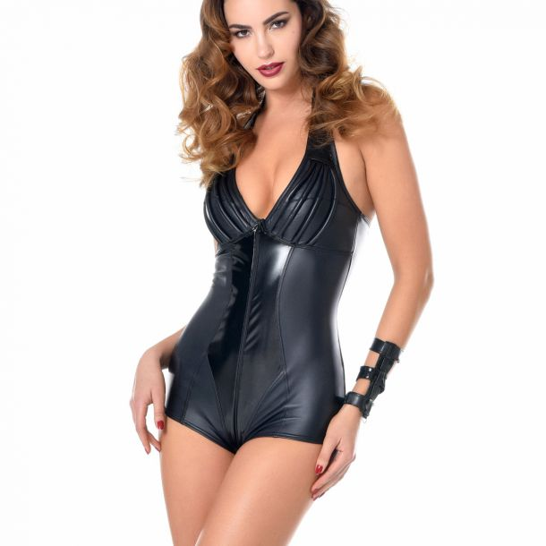 RUBY Wet Look Halterneck Bodysuit