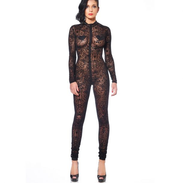 Mesh Catsuit - Tattoo Black