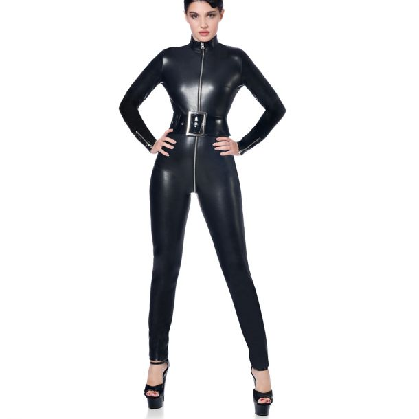 Faux Leather Catsuit - Black