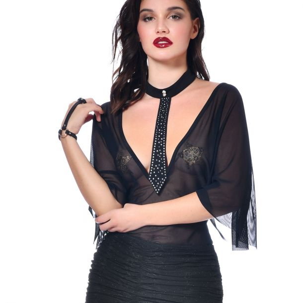 Mesh Top TOPAZE  - Black*
