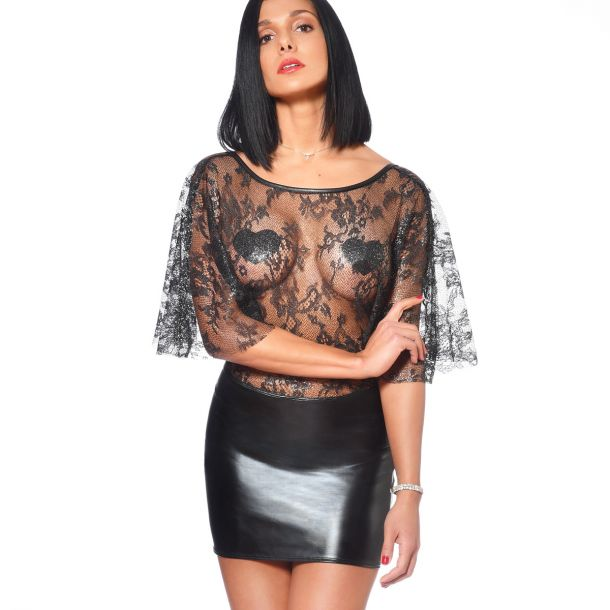 Wet Look Mini Dress with Lace Top - Black