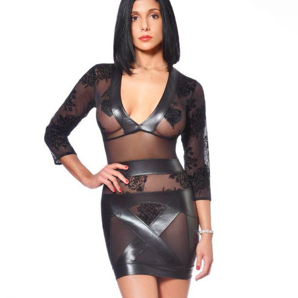 Mesh / Wet Look Mini Dress EVELINA - Black