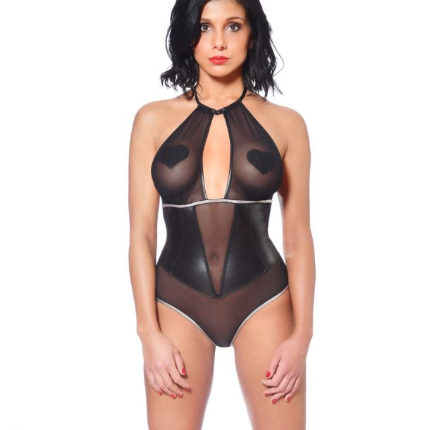 Mesh String Body with Wet Look Details - Black*