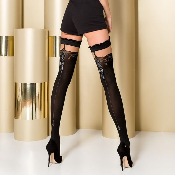 Hold-Up Seamed Stockings ST100 - Black/Grey*