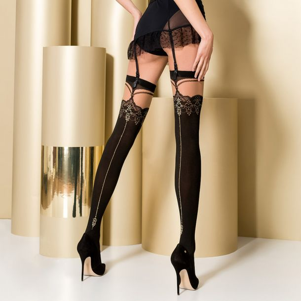 Hold-Up Seamed Stockings ST102 - Black/Nude*