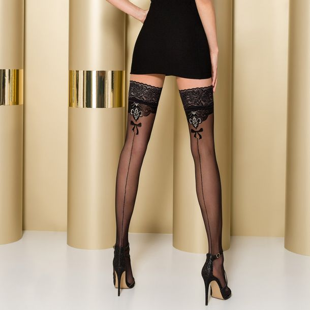 Hold-Up Seamed Stockings ST103 - Black*