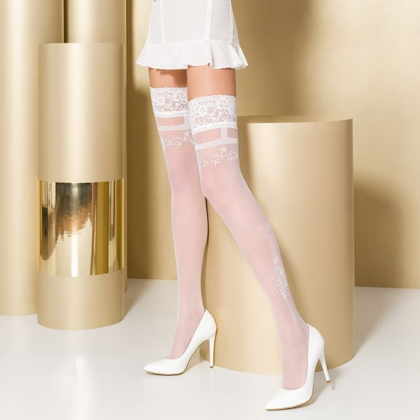 Hold-Up Stockings ST104 - White/Silver*