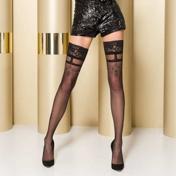 Hold-Up Stockings ST104 - Black/Silver*